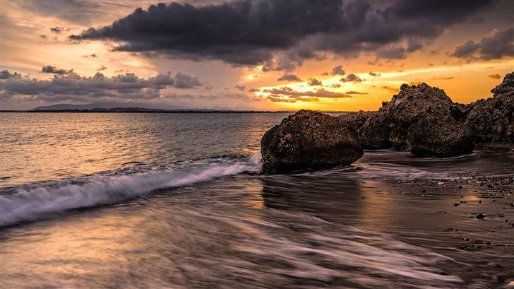 seascape clouds sunset 5k Mac Wallpaper