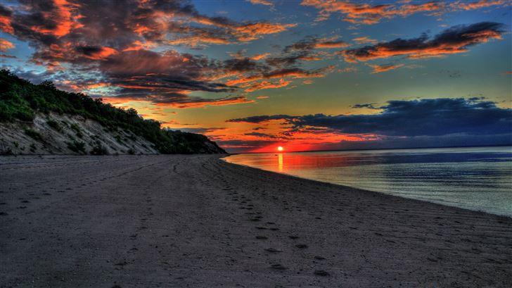 sunset island 5k Mac Wallpaper