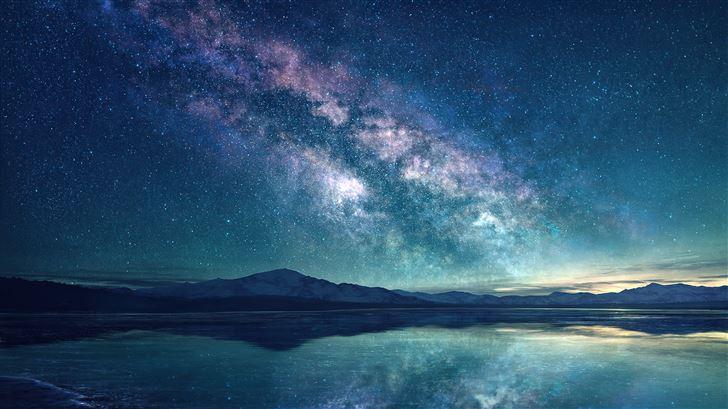 milky way sky blue lake 5k Mac Wallpaper