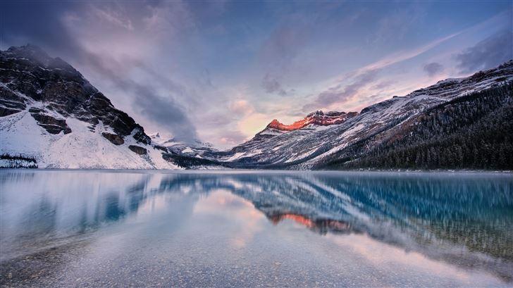 sunrise at bow lake canada 8k Mac Wallpaper