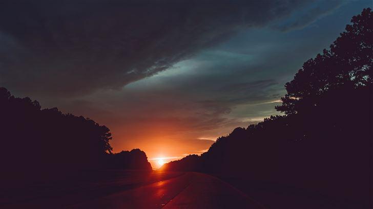 highway sunset 5k Mac Wallpaper