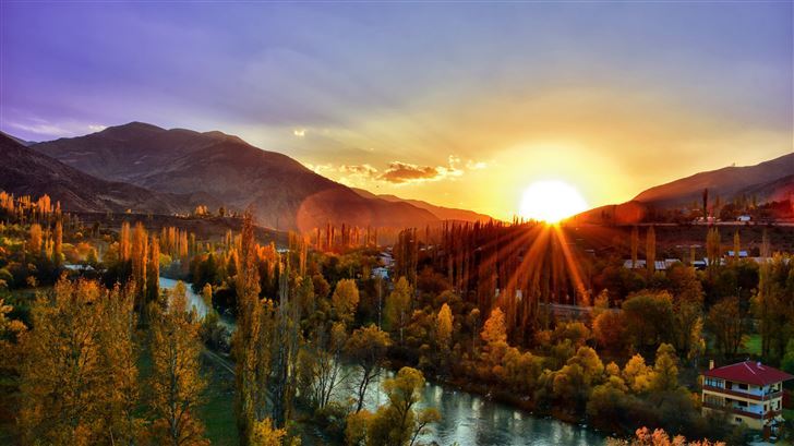sunset dawn nature mountain landscape kackars 5k Mac Wallpaper