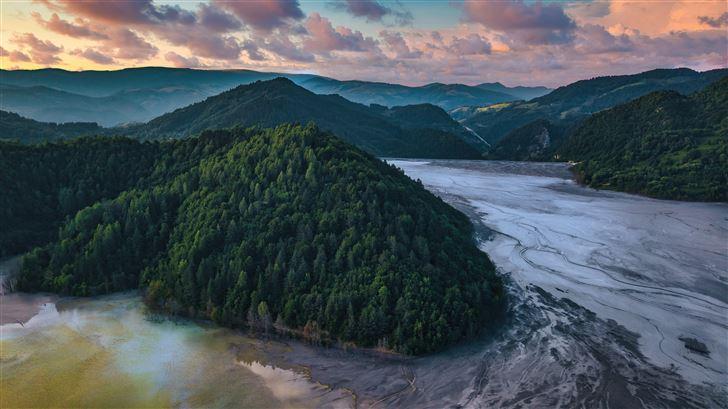 surreal landscape above the steril lake 5k Mac Wallpaper
