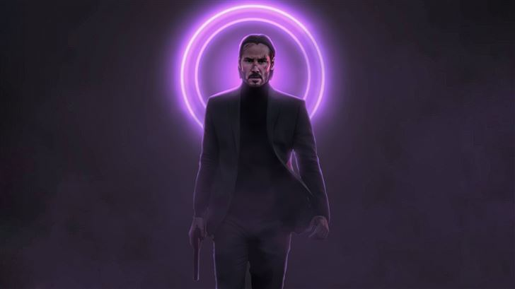 john wick neon with gun 5k Mac Wallpaper