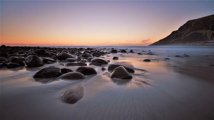 rocks mountains beach 4k Mac Wallpaper