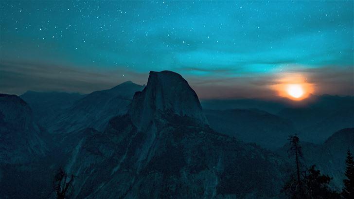 gray mountains sky full of stars 5k Mac Wallpaper