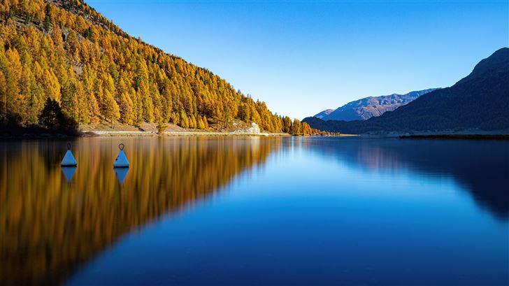 lake silent reflection mountains 5k Mac Wallpaper