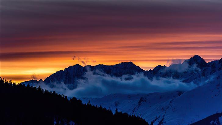 swiss sunset mountains 5k Mac Wallpaper