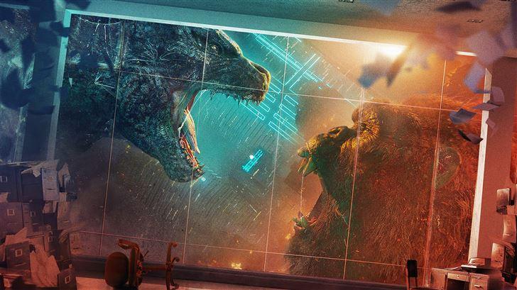 godzilla vs kong movie poster 5k Mac Wallpaper