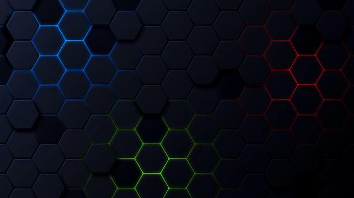 polygon shapes dark 5k Mac Wallpaper
