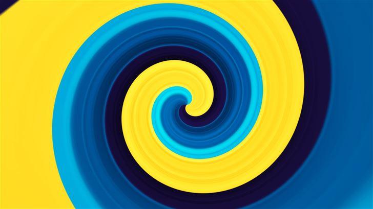 3d abstract swirl yellow blue 5k Mac Wallpaper