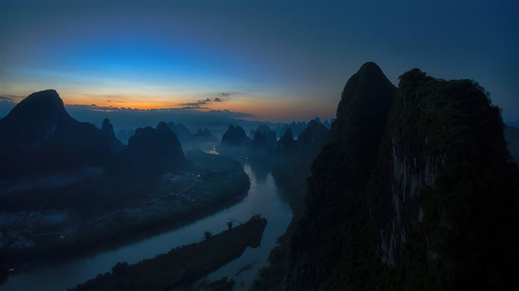 sunrise on the li river 8k Mac Wallpaper