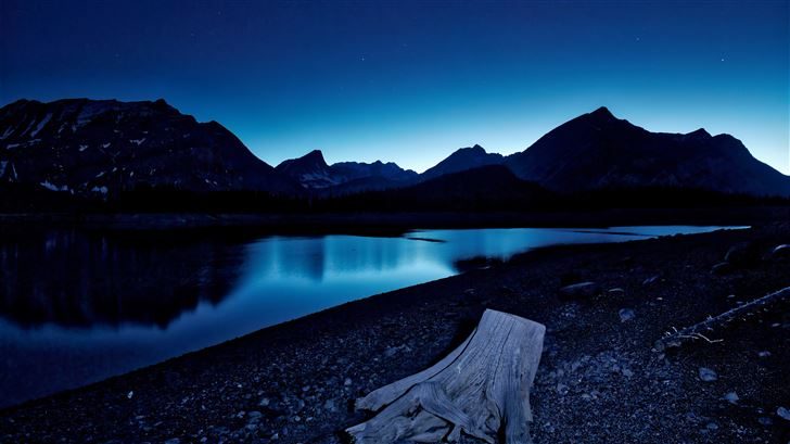blue hour kananaskis lake stars 8k Mac Wallpaper