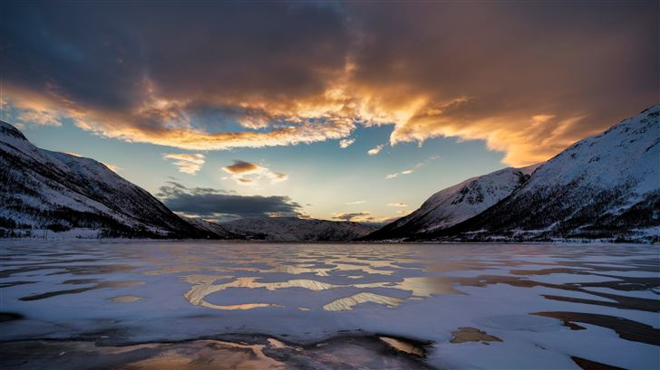 norway mountains finnmark clouds 5k Mac Wallpaper