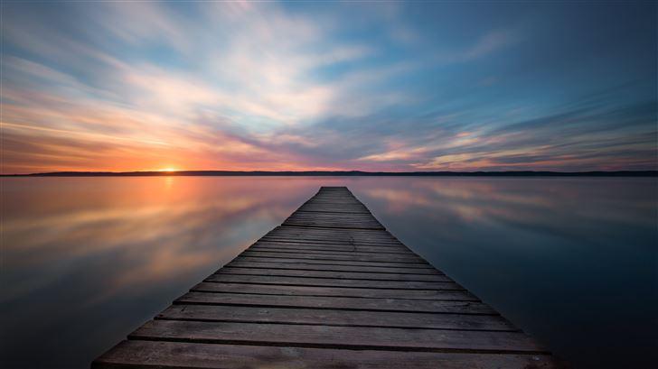 lake pier evening sunset 5k Mac Wallpaper