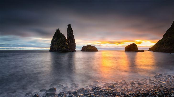 portugal sunrises and sunsets coast stones alagoa  Mac Wallpaper