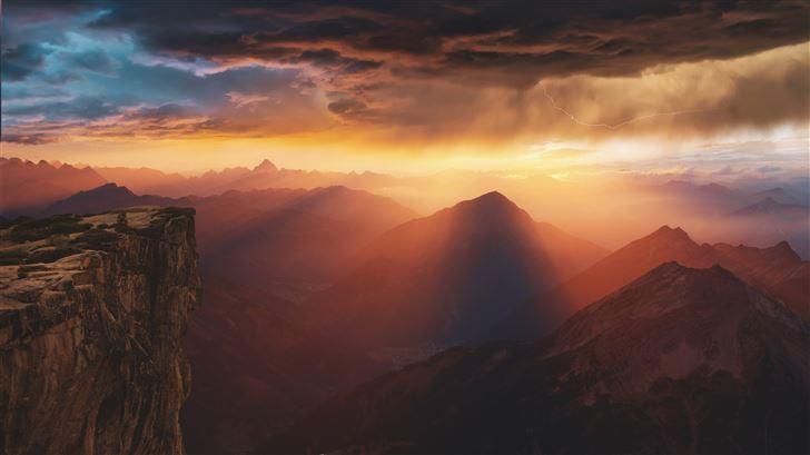 dreamy mountains sunset 8k Mac Wallpaper