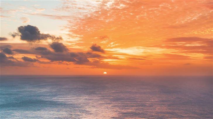 sunset at edge of ocean 5k Mac Wallpaper
