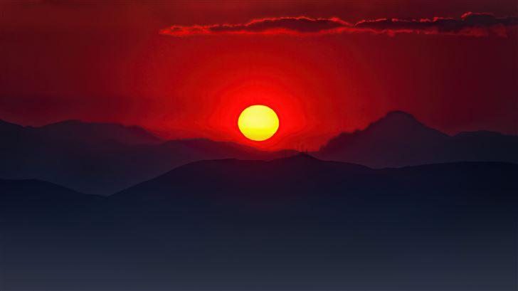 burning mountain sunset 5k Mac Wallpaper