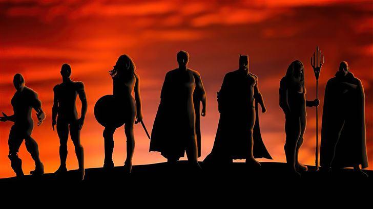 justice league heroes silhouette 5k Mac Wallpaper