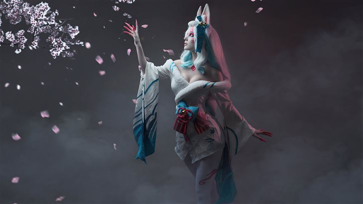 league of legends spirit blossom ahri cospay 5k Mac Wallpaper