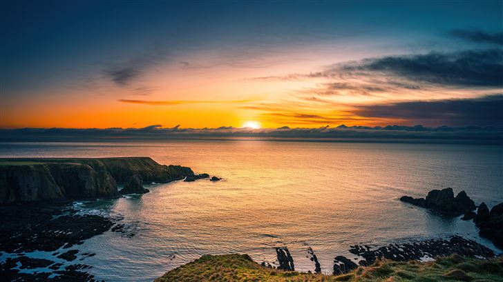 aberdeen coast sunrise scotland 5k Mac Wallpaper