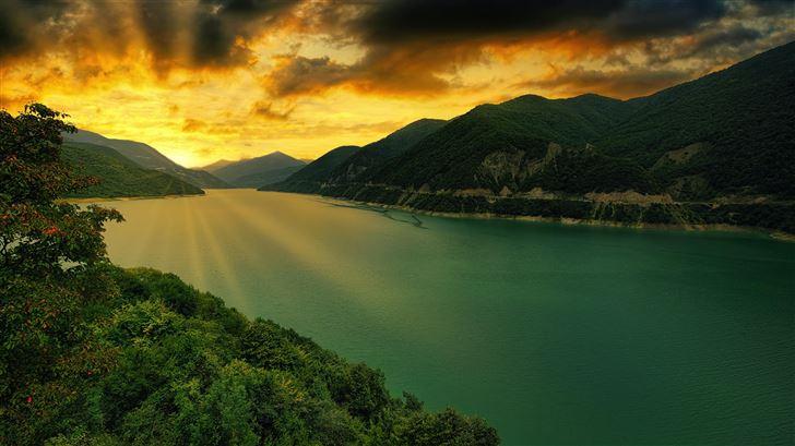 zhinvali reservoir georgia 5k Mac Wallpaper
