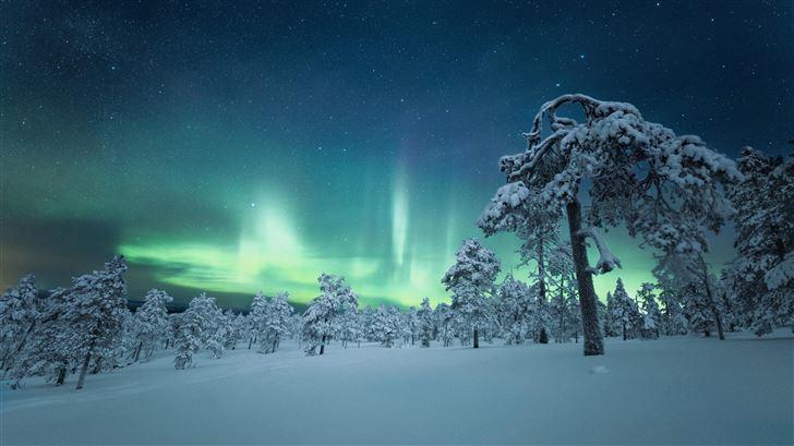 finland night aurora outdoor nature 5k Mac Wallpaper