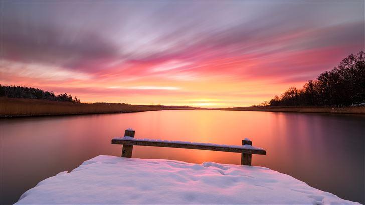 red sky morning winter snow bench 5k Mac Wallpaper