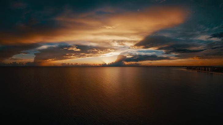 beach clouds seascape horizon 10k Mac Wallpaper