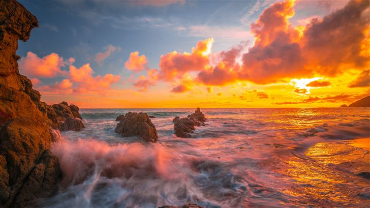 ocean sunset 8k Mac Wallpaper
