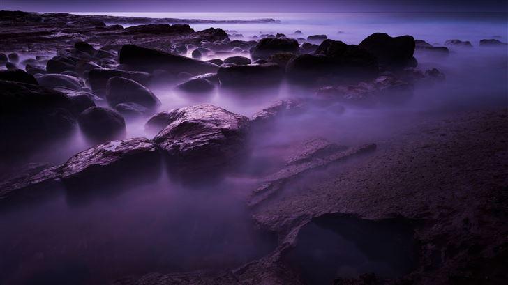 rocks shore long exposure 8k Mac Wallpaper
