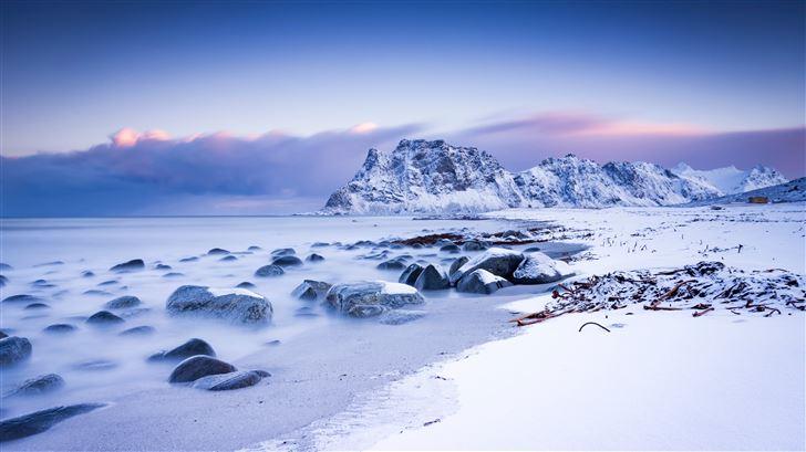 mountains scenery snow 5k Mac Wallpaper