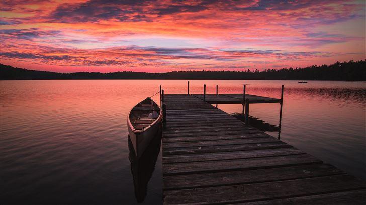 boat dock sunrise 5k Mac Wallpaper