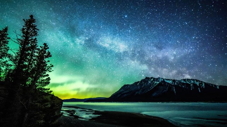 aurora and the milky way abraham lake 8k Mac Wallpaper