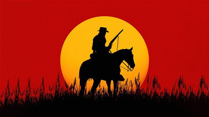 silhouette cowboy red dead redemption 2 5k Mac Wallpaper