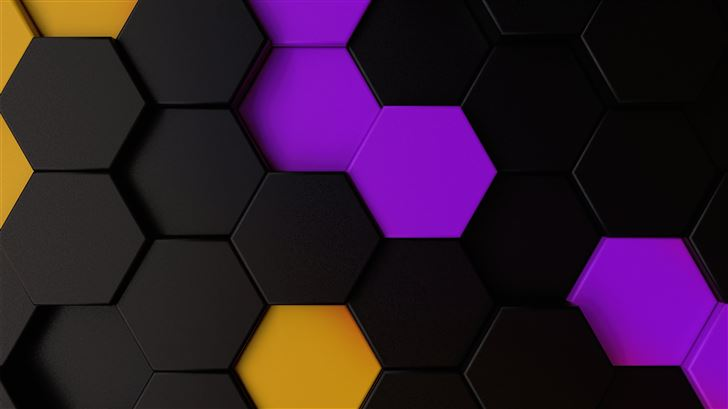 purple yellow dark polygon abstract 5k Mac Wallpaper