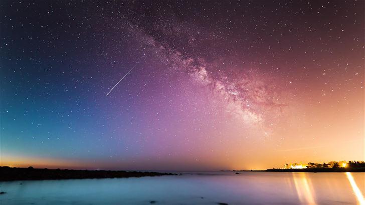 shooting star rye milky way above body of water 5k Mac Wallpaper