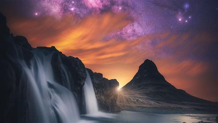 waterfall glowing sky stars mountains 5k Mac Wallpaper
