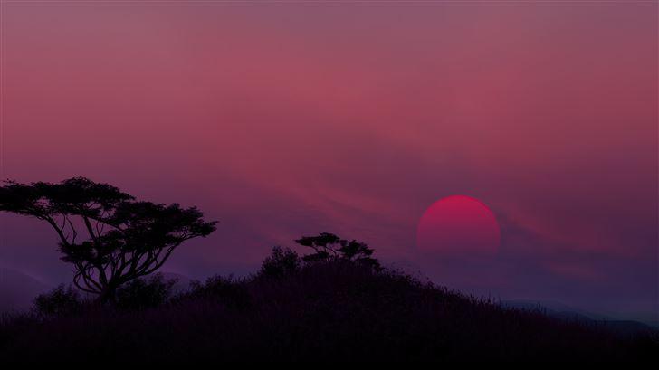 low fi sunset 8k Mac Wallpaper
