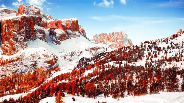 snow capped mountains red infrared dolomites 5k Mac Wallpaper