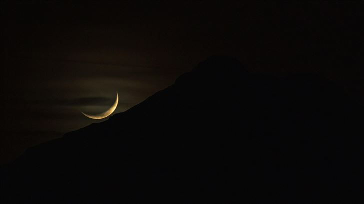 moon set mountain silhouette dark evening 5k Mac Wallpaper