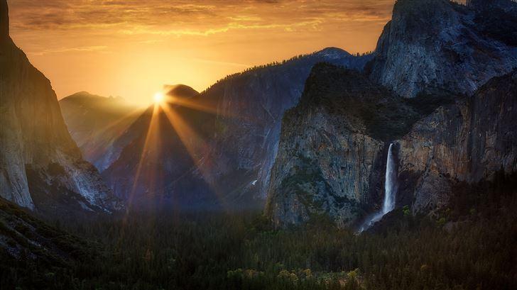sunrise at tunnel view yosemite national park 5k Mac Wallpaper