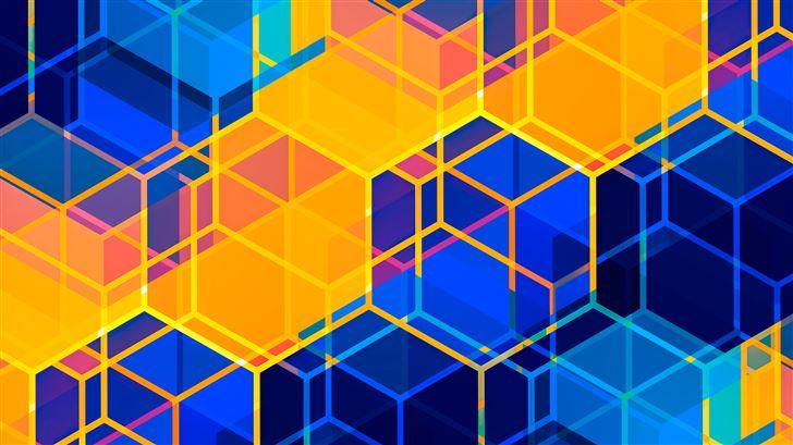 sunset hex abstract 5k Mac Wallpaper