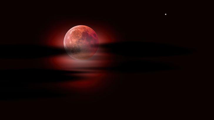 moon clouds night sky red moon 5k Mac Wallpaper