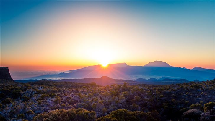 beautiful morning sky landscape sunshine 5k Mac Wallpaper
