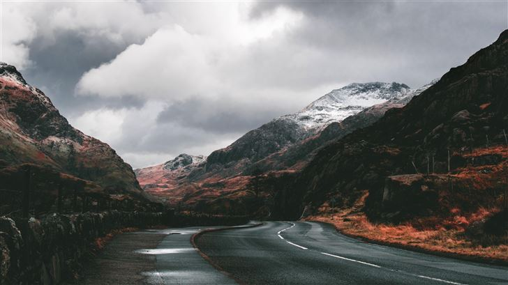 beautiful road between mountains 5k Mac Wallpaper