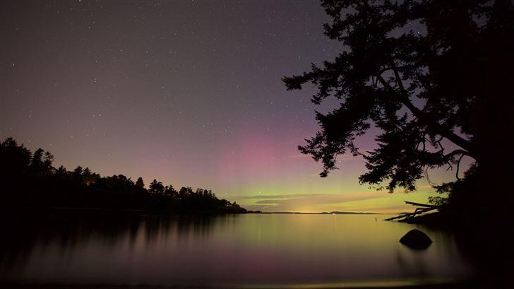 northern lights lake night sky 5k Mac Wallpaper