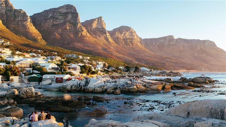 beautiful town mountains landscape water body 5k Mac Wallpaper