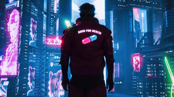 cyberpunk 2077 one pill Mac Wallpaper
